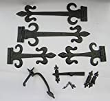 IRONMONGERY WORLDÂ BLACK ANTIQUE GOTHIC SUFFOLK COTTAGE LATCH + FLEUR DE LYS DOOR GATE TEE T HINGES TUDOR (12 INCH HINGE + 9 INCH THUMB LATCH) by Ironmongery World
