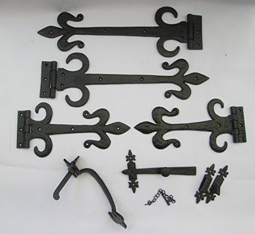 - IRONMONGERY WORLDÂ BLACK ANTIQUE GOTHIC SUFFOLK COTTAGE LATCH + FLEUR DE LYS DOOR GATE TEE T HINGES TUDOR (12 INCH HINGE + 9 INCH THUMB LATCH) by Ironmongery World