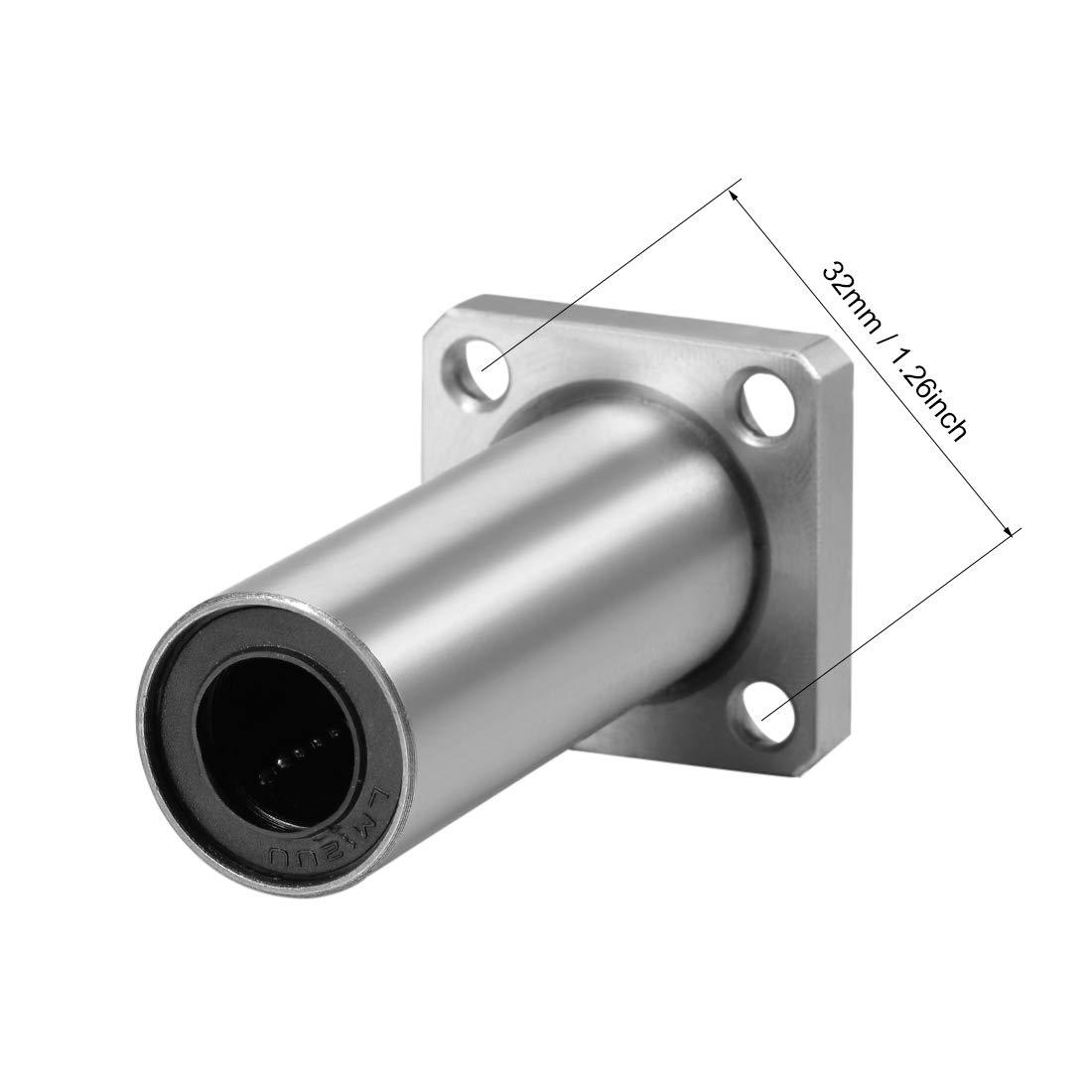 uxcell 12mm Linear Ball Bearings LMK12UU Extra Long Square Flange, 12mm Bore, 21mm OD, 57mm Length 2pcs 51qxFC49pVL