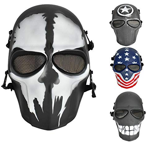 JFFCESTORE Airsoft Full Face Protective Mask with Google and Seamless Headscarf Tactical Masks Gear for Paintball Outdoor Cs War Game BB Gun Ghost Halloween Party Mask(Skull)