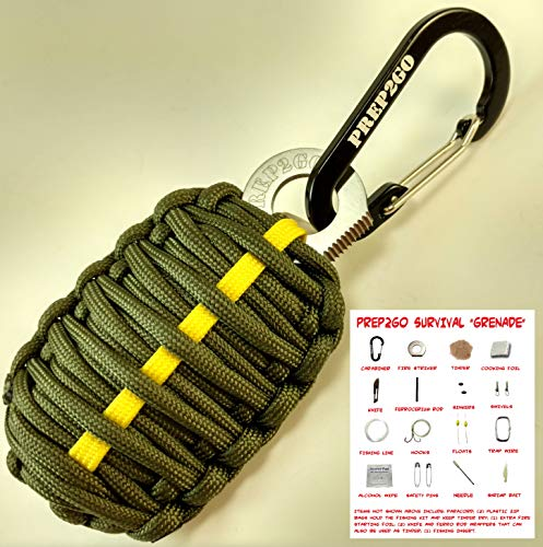 (Paracord Survival Grenade Keychain (24pc)--Moms Feel Safe; Your Kids Can Get Food, Fire & Shelter When Lost--Cool Gadget Gifts for Him or Her Dad Boyfriend Men--Camping Hiking Hunting Boy Scout Kit)