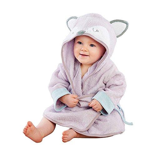 Baby Aspen Forest Friends Hooded Spa Robe, Purple/White/Grey/Aqua/Silver,  Fancy Fox, 0-9 Months (New Purple Fox)