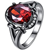 XAHH Black Gold Plated Women Fine Oval Red Ruby Crystal Ring Round CZ Bridal Engagement Ring Wedding Band