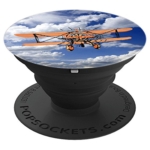 Flying Biplane in the Sky Pop Socket Vintage Aircraft Gift - PopSockets Grip and Stand for Phones and Tablets