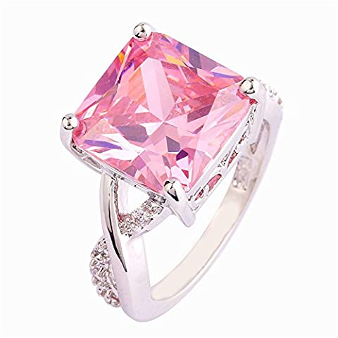 Empsoul 925 Sterling Silver Natural Gorgeous Filled Princess Cut 6ct Pink Topaz Infinity Symbol Engagement Bridal - Topaz Button