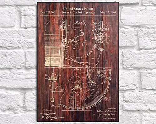 (Adonis554Dan Drum Pedal Patent Decor Art Gift Orchestra Instrument Wood Art Wall Music Studio Rock Music Patent Gift Musician Gift Panel Effect Wood Art)
