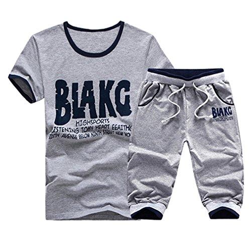 Amybria Men's Cotton Crew Neck Sports T Shirt Short Pants Set
