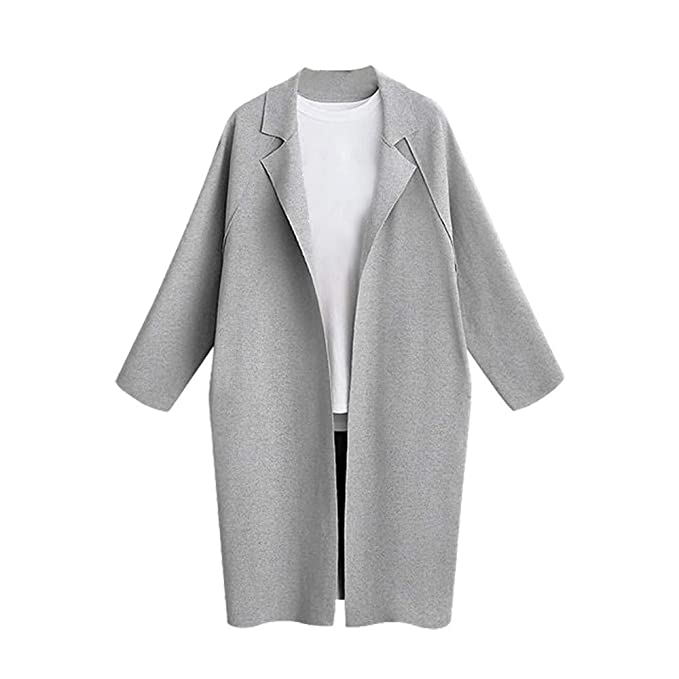 Sunmoot Trench Coat Womens Long Sleeve Loose Solid Lapel ...