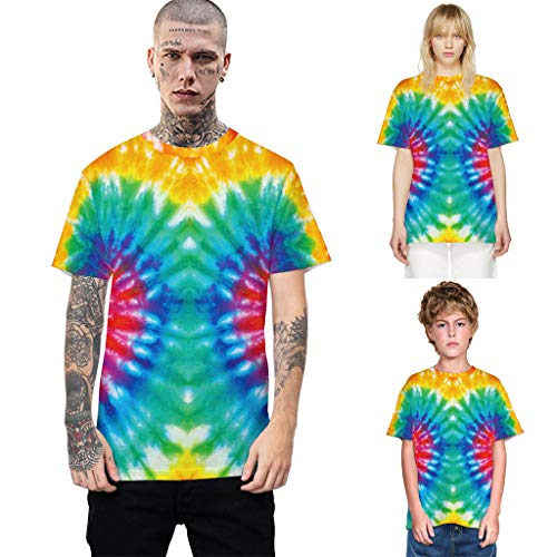 - CapsA Handcrafted Tie Dye T Shirts Multi Color Family Matching Tops Tee Clothes Teen Youth Adult Tie Dye T-Shirt (A, S)