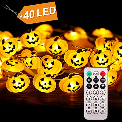 CPPSLEE Halloween Pumpkin String Lights - 40 LED 13.12ft Battery Box Operated Remote Timer Halloween Decorations Jack-O-Lantern Lights (A-Pumpkin)