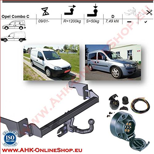 AHK 7-Pin Wiring Kit For Vauxhall Corsa C Combo 2001  to 2011  Tow Trailer Hitch Mount  –   fixed Towing Hitch with Screwed-On Spherical Head AHAKA AHFO023ES7
