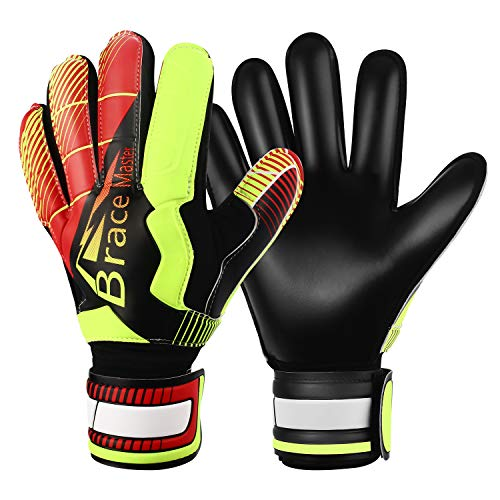 Goalie Goalkeeper Gloves for Youth and Adult, with Strong Grip and Finger Spines Protection, Black Latex Soccer Keeper Glove for Men and Women, Training and Match, Indoor and Outdoor (Black-Red, 9)