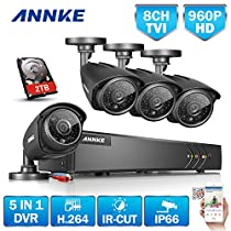 ANNKE 1080P Lite 10 Channels DVR Recorder 2TB Surveillance HDD and (4) 960P 1.3MP HD Outdoor CCTV Camera, Email Alert with Images, Mobile App: ANNKE View