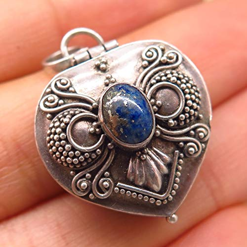 925 Sterling Silver Real Lapis Lazuli Gem Granulated Design Locket Pendant Jewelry Making Supply by Wholesale Charms ()
