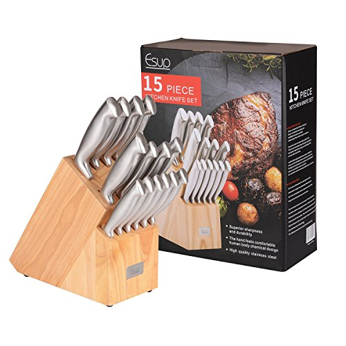 Esup Premium Stainless Steel 15-Piece Knife Block Set, Include Wooden knife Stand (Stainless Hollow Handle Steak Knife)