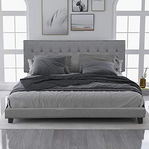 FLIEKS Bed Frame Upholstered Platform Mattress Foundation with Wooden Slat Support and Tufted Headboard (Grizzle, King)