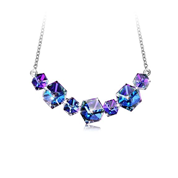 PLATO H Color Change Necklace Changing color necklace Magic Smiling Pendant Necklace, Ocean Blue Cubic Crystal Necklace with Swarovski Crystal, Fashion Jewelry Cube Neckalce, 18""