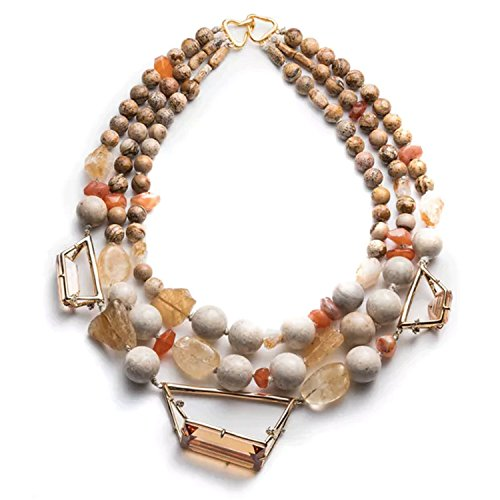 Alexis Bittar Womens Triple Strand Beaded Necklace Gold ()
