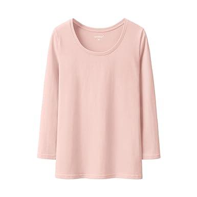 19c3f5d3983 Amazon.com  Women s Pullovers Pink Seven-Sleeve t-Shirt Cotton Tops ...