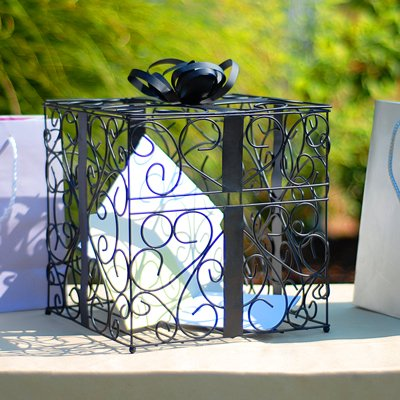 Gift Box Place Card Holder - RaeBella Weddings BLACK Reception Gift Card Holder Box