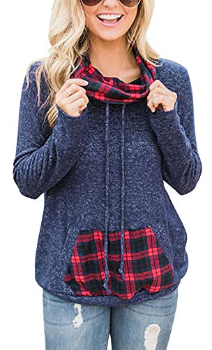 PinUp Angel Navy Blue Cowl Neck Sweatshirt Long Sleeve Blouse Top with Buffalo Plaid Pocket (Angel Blouse)