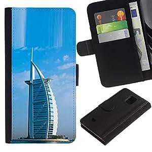 All Phone Most Case / Oferta Especial Cáscara Funda de cuero Monedero Cubierta de proteccion Caso / Wallet Case for Samsung Galaxy S5 Mini, SM-G800 // Architecture Burj Dubai Arab Hotel