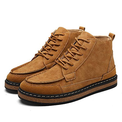 Men's Shoes Feifei Winter Leisure Non-Slip High Help Shoe 3 Colors (Color : Yellow, Size : EU40/UK7/CN41)