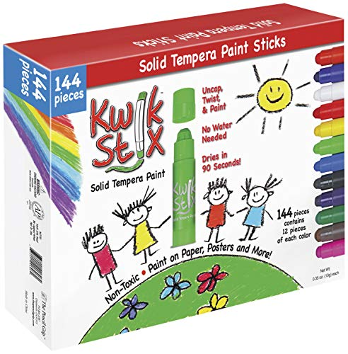 Pencil Grip Kwikstix Solid Tempera Paint 144ct, Quick Drying
