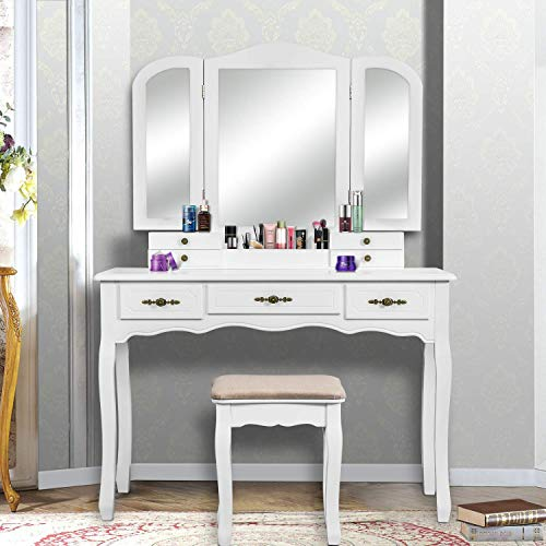Used, Vanity Table Set, 3 Large Drawers, Tri Folding Mirror, for sale  Delivered anywhere in Canada