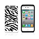 iPhone 4S Case, MagicMobile® Hybrid Armor Ultra Protective Case for iPhone 4 / 4S Cute [Zebra Pattern] Design Hard Plastic + Shockproof Rubber Impact Resistant iPhone 4S Defender Cover - White / Black