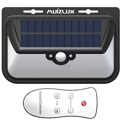Muizlux sensor outdoor solar wall light lamps, wide lighting angle 270 with 68pcs brightness leds