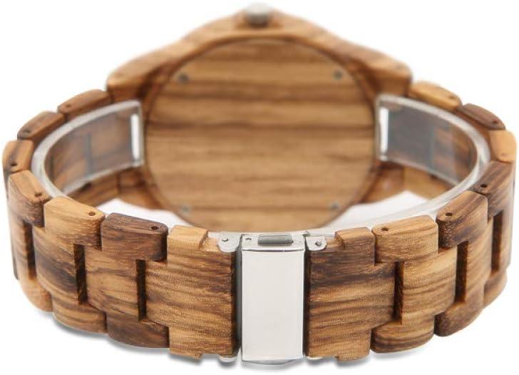 WFE&QFN Montre en Bois Montres en Bois élégant Montre pour Hommes Horloge de Sport Montre en Bois Minimaliste marron