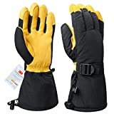 #1: OZERO Winter Ski Gloves Cold Proof Work Glove Thermal 3M Thinsulate Insulation Cotton Cowhide Leather Palm - Water Resistant Windproof Skiing/Snowmobile/Shoveling Snow - Gold/Black