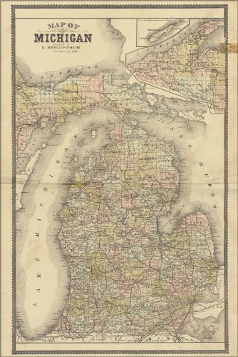 Michigan Wall Map - 16x24 Poster; Map Of Michigan 1896