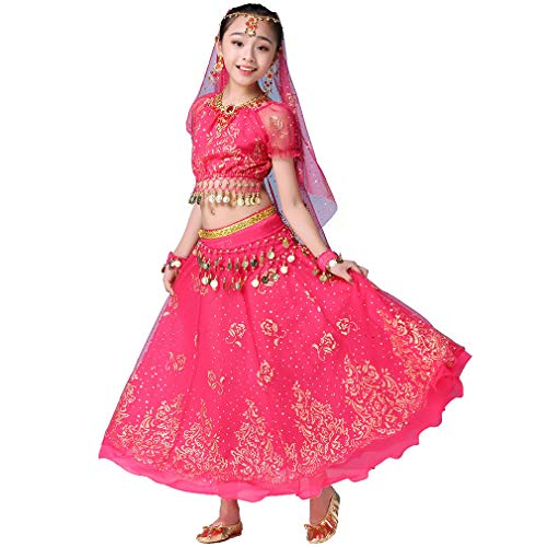 Girls Belly Dance Dress Bollywood Indian Folk Kids Arabian Performance Costume Carnival Outfit (105-130cm/41-51in, Rose-Red)