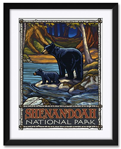Northwest Art Mall Shenandoah National Park Bears In Stream Framed & Matted Art Print by Paul A. Lanquist. Print Size: 18