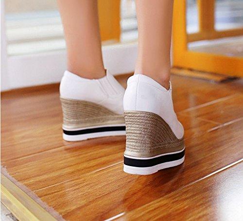 Super Blanco De El Pie Primavera SFSYDDY Otoño Poner Gruesa Muffin Ocio Con Fondo Profunda De Cm Treinta Zapatos Zapatos 5 Heels Zapatos La Zapatos 7 Y Cuatro nine Thirty Pendiente Y De Suela High qvx4Uf4