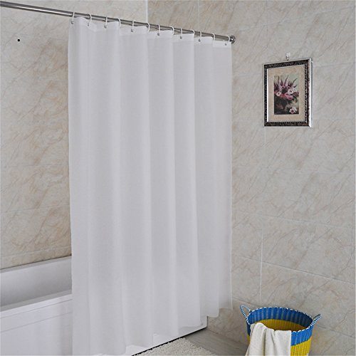 Inn Bed Hampton (Luxiu Home Simple White Waterproof Mildew Resistant PEVA Shower Curtain available in various sizes 47 x 70 inch approx)