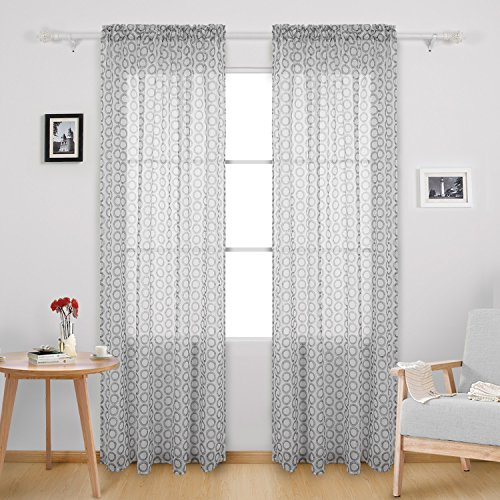 Curtains 84 Inch Length Rod Pocket Voile Drape Curtains Circle Printed Sheer for Dining Room 52W x 84L Inch White 2 Panels (Blend Sheer)