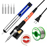 astarye Soldering Iron Kit Electronics 60W 110V Adjustable Temperature Welding Tool, 5pcs Soldering Tips, Desoldering Pump,Desoldering Wick, Soldering Iron Stand and Lead Free Solder Wire