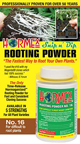 Hormex Rooting Hormone Powder #16 | for Difficult to Root Woody Plants | Fastest IBA Rooting Powder Compound for Strong & Healthy Roots