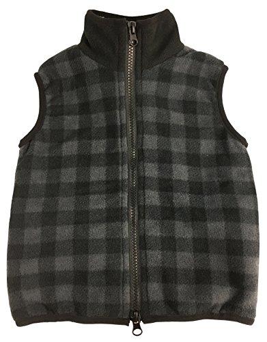 N'Ice Little Boys and Baby Sherpa Lined Buffalo Plaid Fleece Outerwear Vest (3T, Grey/Black Buffalo Plaid)