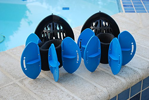 (AquaLogix Total Body Aquatic Exercise System - Includes Online Demonstration Video with 30 Sample Exercises (All Purpose Black Bells/Maximum Resistance Blue Fins))