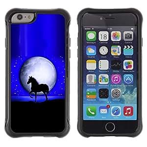 "Pulsar iFace Series Tpu silicona Carcasa Funda Case para Apple iPhone 6+ Plus(5.5 inches) , Luna Mustang caballo del semental Noche Negro"""