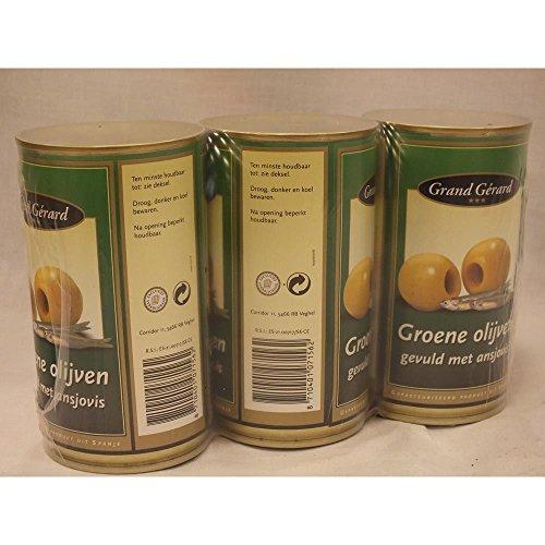 Grand Gérard groene Olijven gevuld met Ansjovis 3 x 370ml Konserve (grüne Oliven gefüllt mit Sardellen)