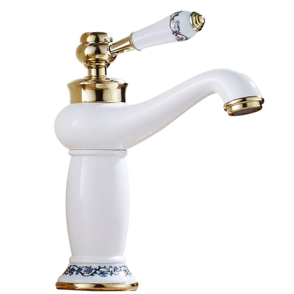 JKFH White Faucet Antique Brass Retro Faucet Bathroom Nostalgia Faucet Bathroom Cold Hot Cold Water Tap Mixer Sink Copper Brushed Tap Sink With Hose
