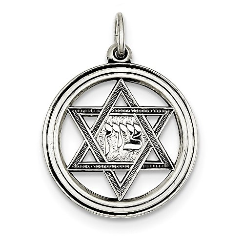 David Diamond Disc Pendant (925 Sterling Silver Antiqued Star Of David Disc Charm (25mm x 23mm))