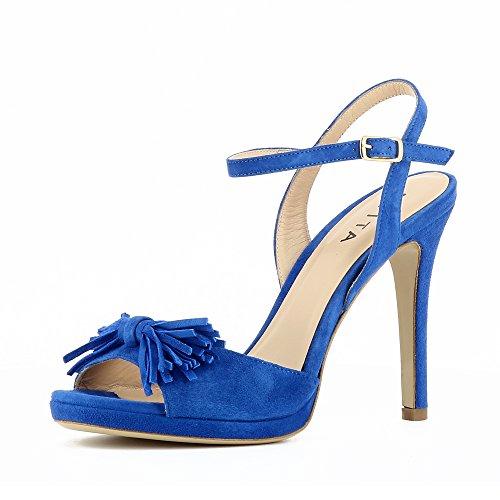 Evita Schoenen Alba Vrouwen Sandalette Suede Blauw