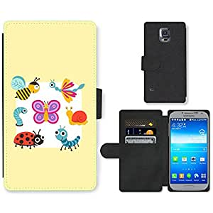 Hot Style Cell Phone Card Slot PU Leather Wallet Case // M99999594 Cute Cartoon Insects Vector Graphics // Samsung Galaxy S5 S V SV i9600 (Not Fits S5 ACTIVE)
