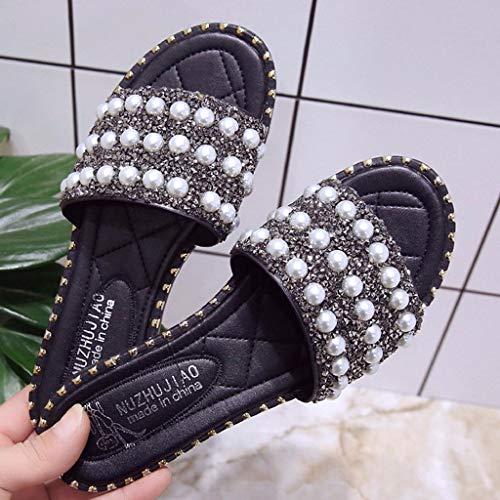 Lentejuelas Moda Antideslizantes Zapatos Negro Mujeres De Perlas Playa Sandalias Pisos Salvaje Verano 1qtRX